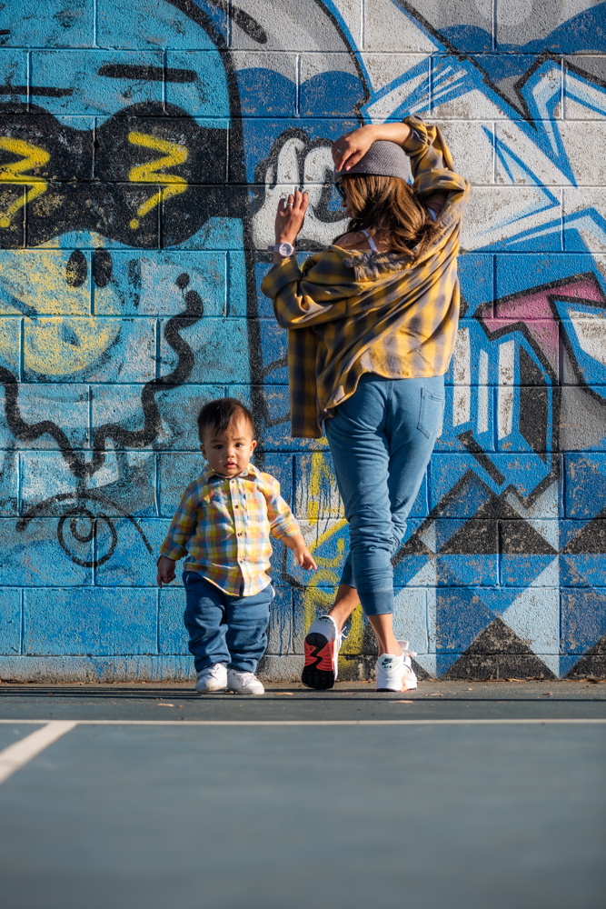 Mother and Son twinning outfit. Graffiti wall photoshoot.